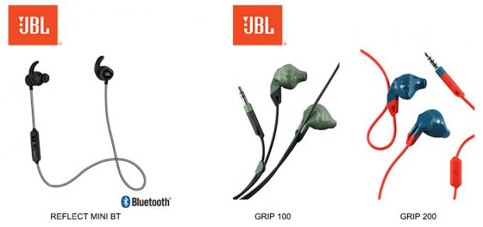 JBLスポーツイヤホンの新製品3モデル 12月10日(木)より新発売 Bluetoothワイヤレススポーツイヤホン「REFLECT MINI BT」アクションスポーツイヤホン「GRIP 100」「GRIP 200」   ハーマンインターナショナル2
