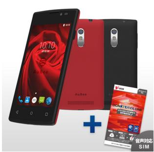SIMフリースマホ AuBee smartphone 「elm.」 (バックパネル2枚付き:レッド ブラック)   OCNモバイルONE音声通話対応SIMパッケージセット 【送料無料】   NTTコムストアおすすめ   goo SimSeller