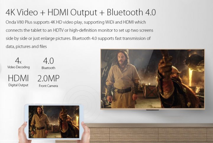 onda v80 plus hdmi output